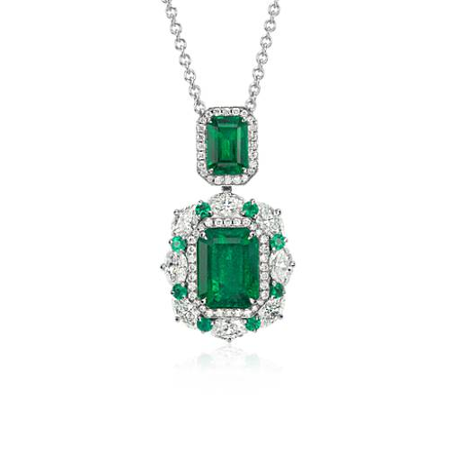 NEW Emerald and Diamond Drop Pendant in 18k White Gold (4.50 ct. tw.)