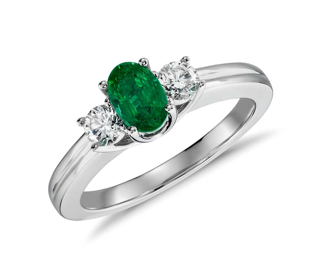 Petite Emerald and Diamond Ring in 18k White Gold 6x4mm