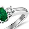 Petite Emerald and Diamond Ring in 18k White Gold (6x4mm)