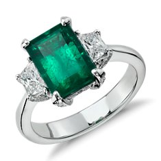 Emerald and Trapezoid Diamond Three-Stone Ring in Platinum (2.94 cts)