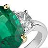 Emerald and Diamond Three-Stone Ring in Platinum and 18k Yellow Gold (4.29 ct center)