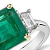 Emerald-Cut Emerald and Diamond Three-Stone Ring in Platinum and 18k Yellow Gold (3.85 ct center)