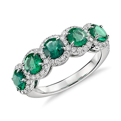 Emerald and Diamond Five-Stone Halo Ring in 18k White Gold (4.5mm)