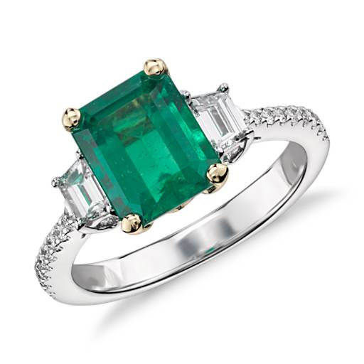 Emerald and Diamond Ring in 18k White Gold (2.16 ct. center) (8.6x7mm)