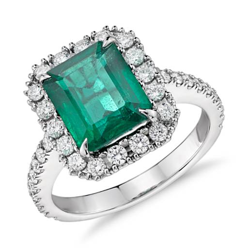 Emerald and Diamond Halo Ring in 18k White Gold (2.47 ct. center)