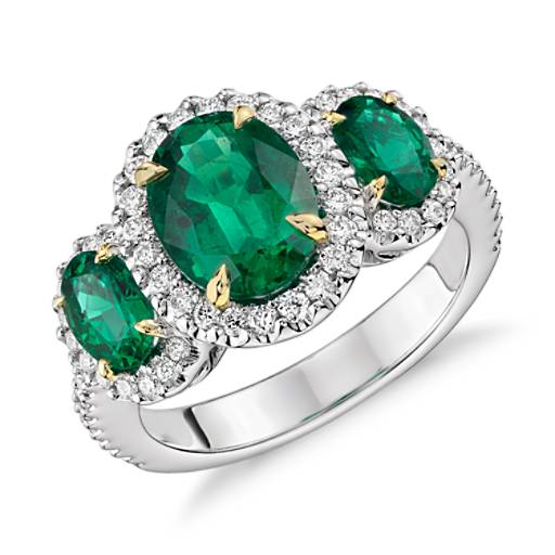 Three Stone Emerald and Diamond Halo Ring in 18k White and Yellow Gold (2.95 ct. tw.) (9x7mm)
