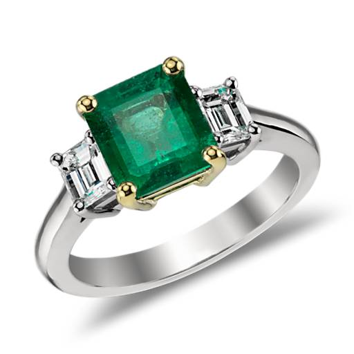Emerald and Diamond Ring in 18k White and 18k Yellow Gold  (2.01ct center)