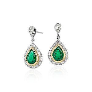 NUEVO. Aretes colgantes de diamante y esmeralda, en oro blanco y amarillo de 18k (1,76 qt. total)