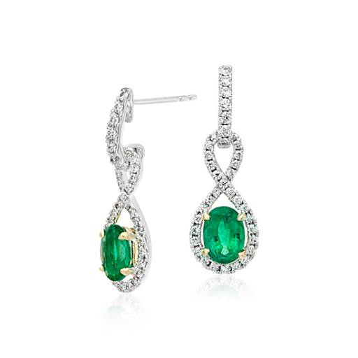 Emerald and Diamond Infinity Twist Earrings in 18k White and Yellow Gold (7x5mm)