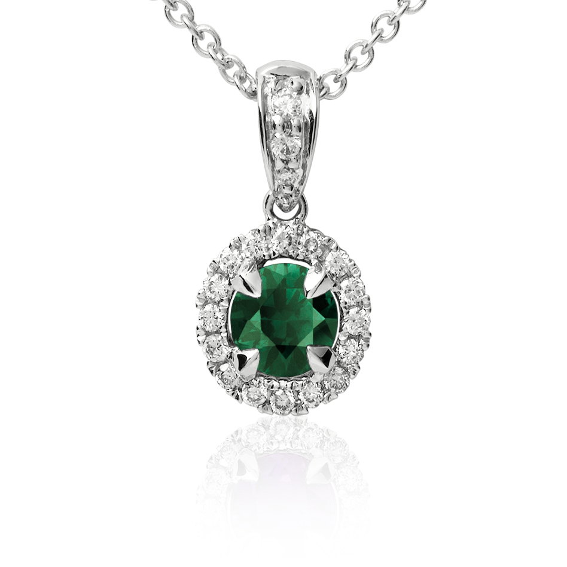 Emerald and Micropavé  Diamond Pendant in 18k White Gold (5mm)