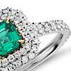 Emerald and Micropavé Diamond Double Halo Ring in 18k White and Yellow Gold (0.69 ct.)