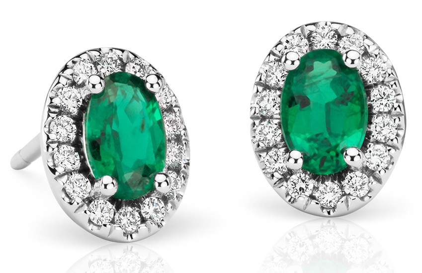 Emerald and Pavé Diamond Halo Earrings in 18k White Gold (6x4 mm)