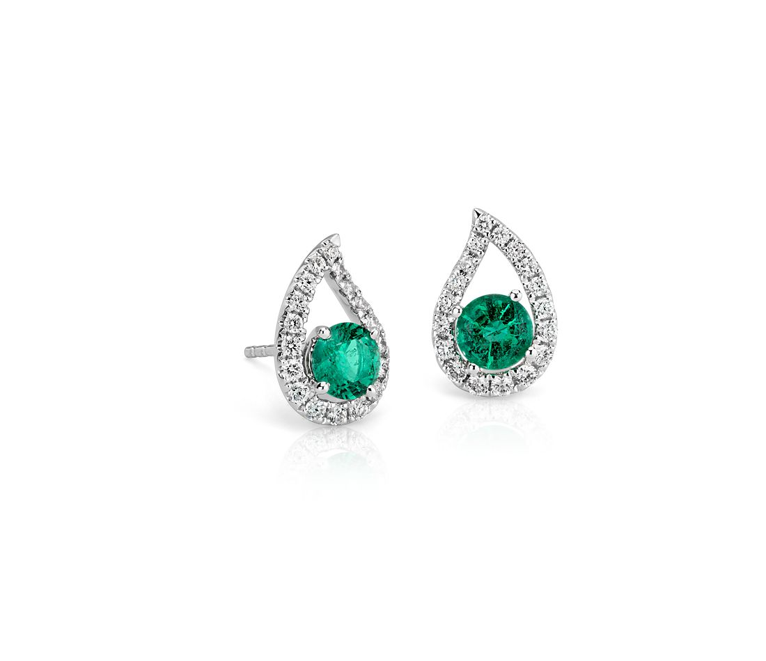 Emerald and Pavé Diamond Teardrop Earrings in 18k White Gold (5mm)