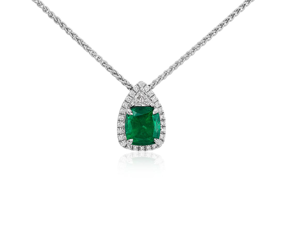 Emerald and Pavé Diamond Halo Pendant in 18k White Gold (1.86 cts)
