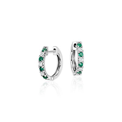 Petite Emerald and Diamond Pavé Huggie Hoop Earring in 14k White Gold (1.6mm)