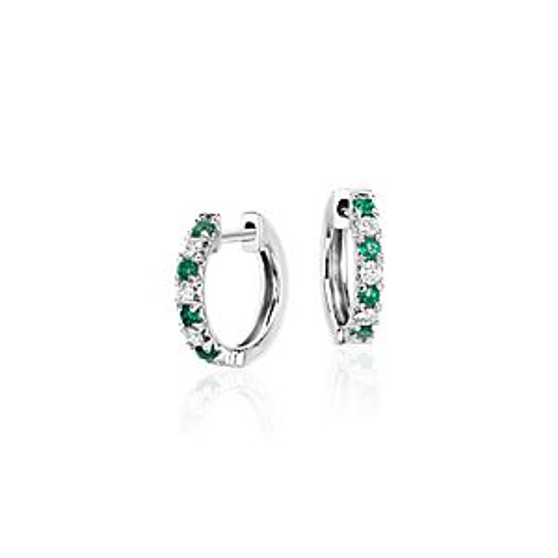 Petite Emerald and Diamond Pavé Huggie Hoop Earring in 14k White Gold (1.6mm)