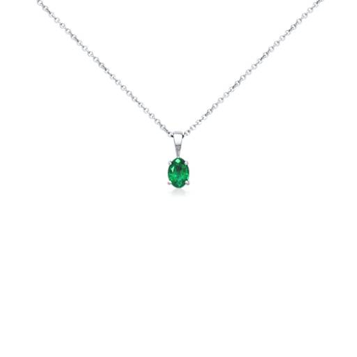 Oval Emerald  Pendant 18k White Gold (7x5mm)