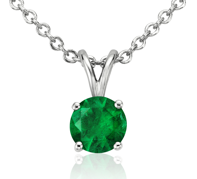 Emerald Solitaire Pendant in 18k White Gold (5mm)