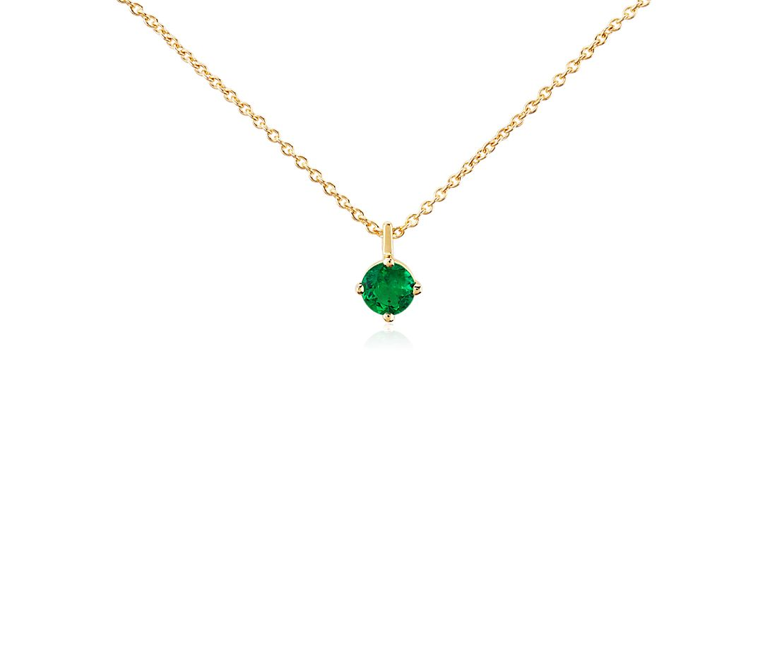 Premier Emerald Solitaire Pendant in 18k Yellow Gold (5mm)