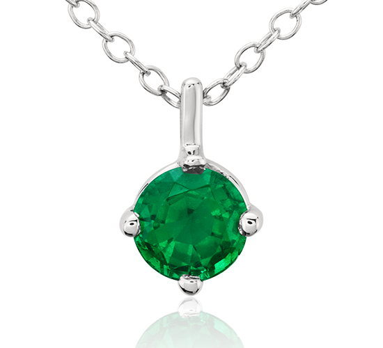 Premier Emerald Solitaire Pendant in Platinum (5mm)