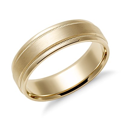 Milgrain Emery Wedding Ring in 14k Yellow Gold (6mm)