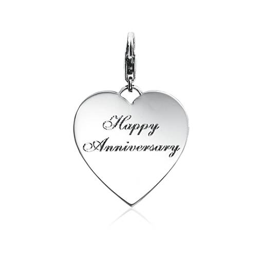 Engraveable Happy Anniversary Heart Charm in Sterling Silver