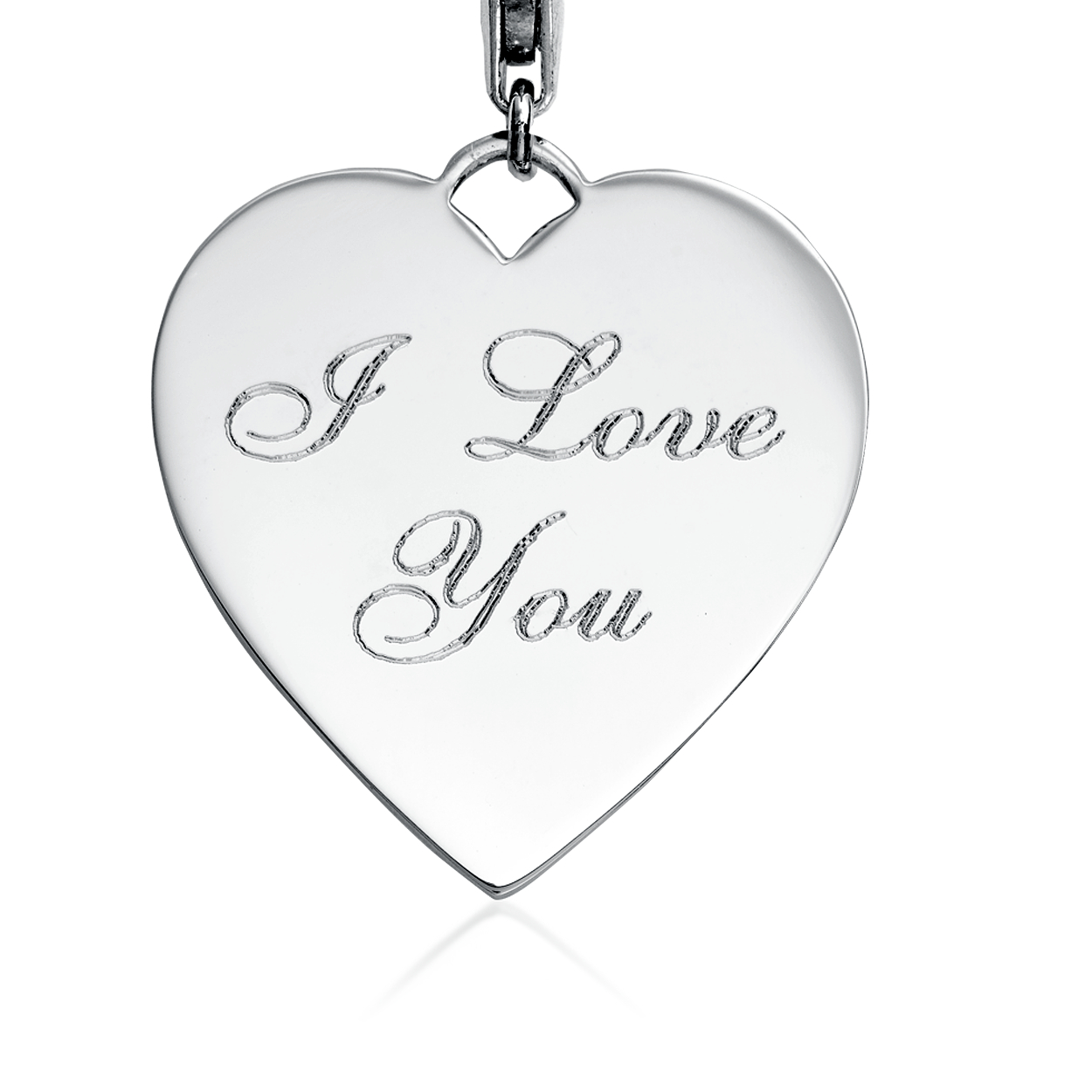 Engraveable I Love You Heart Charm in Sterling Silver