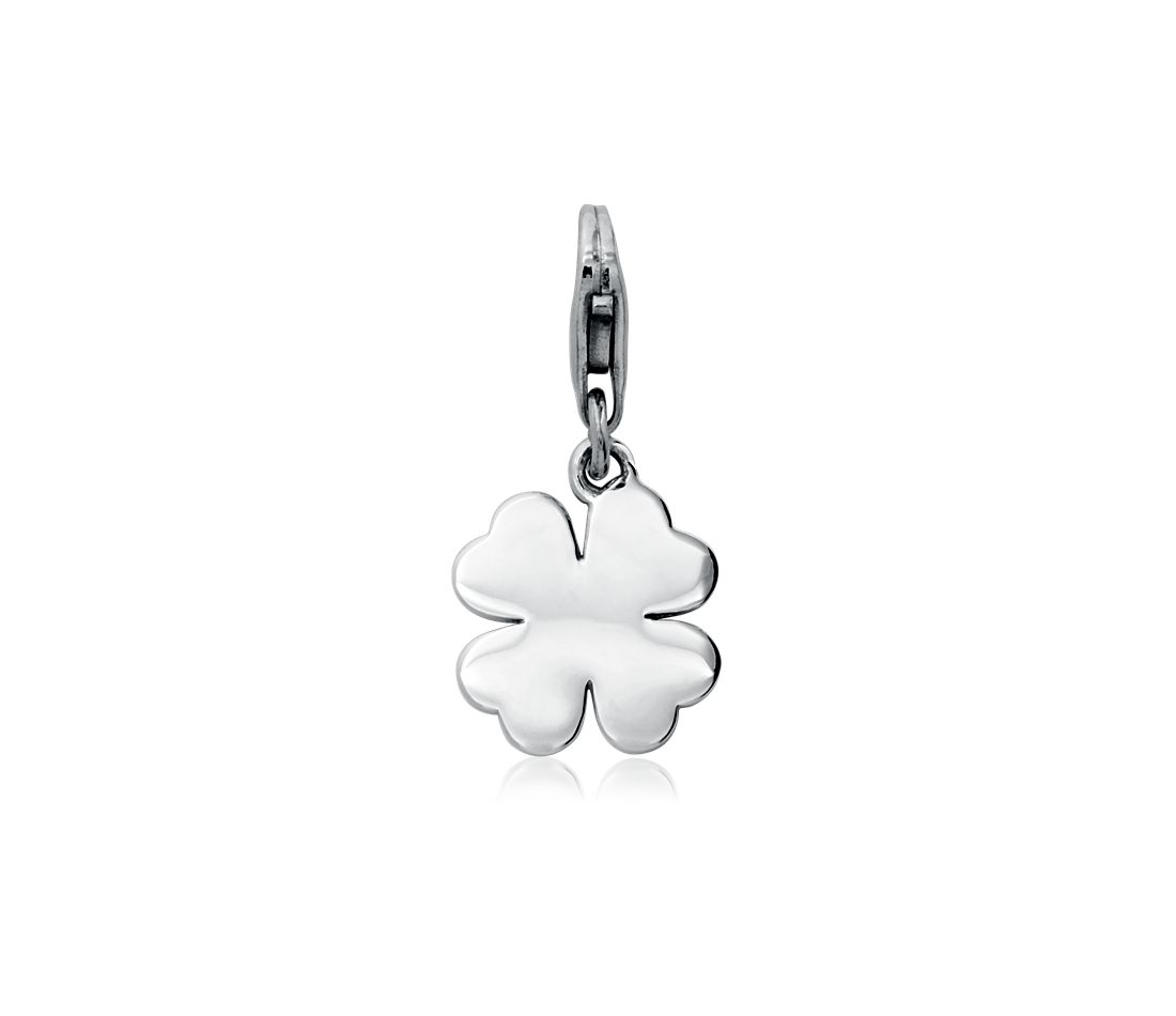 Engraveable Four-Leaf Clover Charm in Sterling Silver