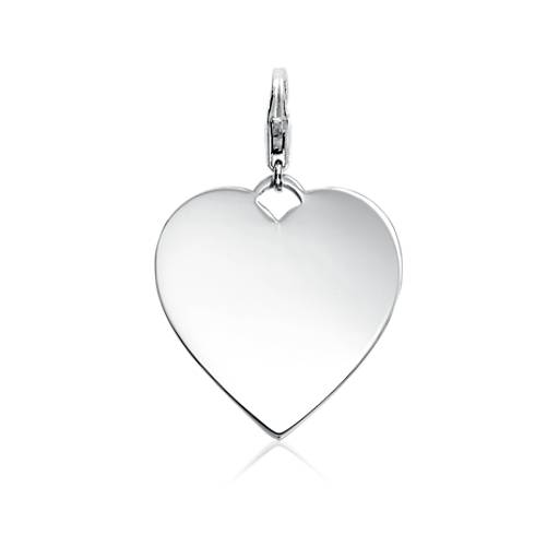 Engraveable Heart Tag Charm in Sterling Silver