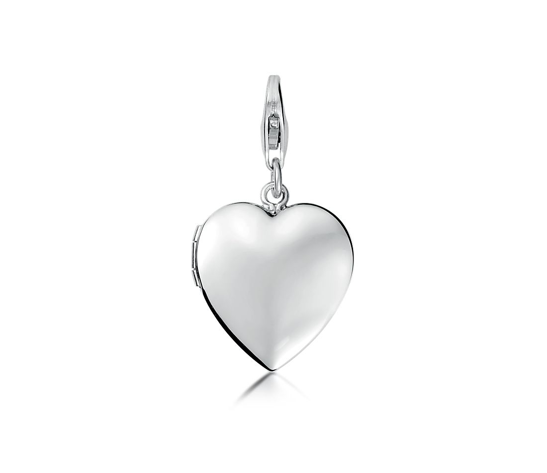 Engraveable Sweetheart Locket Charm in Sterling Silver
