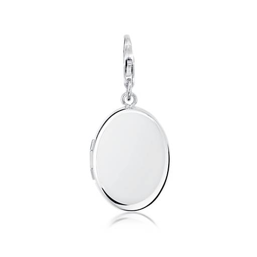 Engraveable Oval Locket Charm in Sterling Silver