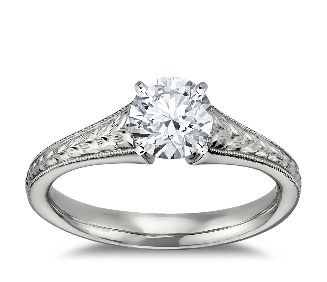 Engraved Flared Solitaire Engagement Ring in 14k White Gold