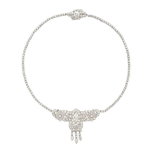 Collier tour de cou ancien en diamants art déco en platine (12.60carats, poids total)