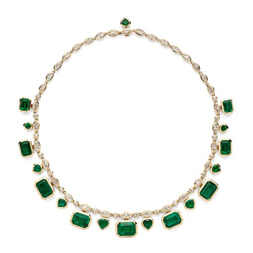 NEW Estate Emerald and Diamond Statement Necklace (52.71 ct. tw.)