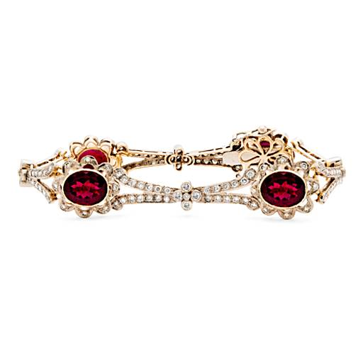 Estate Rubellite Tourmaline and Diamond Bracelet in 18k White and Yellow Gold