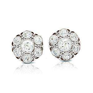 Boucles d'oreilles  anciennes en diamant filigrane au style victorien en or blanc 18carats (3,30carats, poids total)