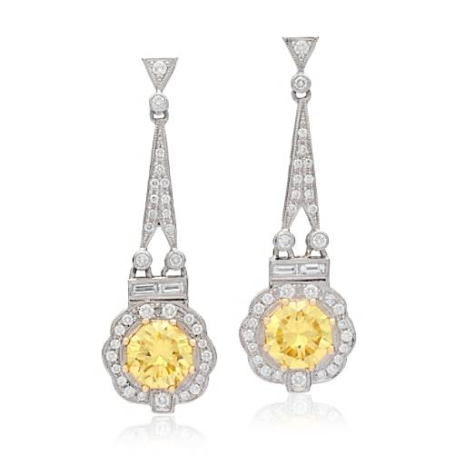 Estate Fancy Intense Yellow Diamond Drop Earrings in Platinum and 18k Yellow Gold (3.55 ct. tw. centers)