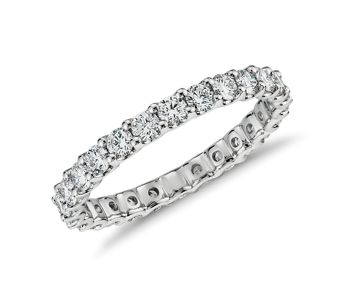 Luna Diamond Eternity Ring In 14k White Gold 1 Ct Tw