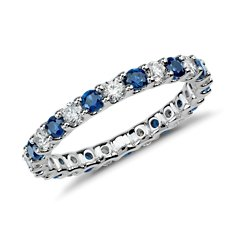 U-Claw Eternity Sapphire and Diamond Ring in 14k White Gold