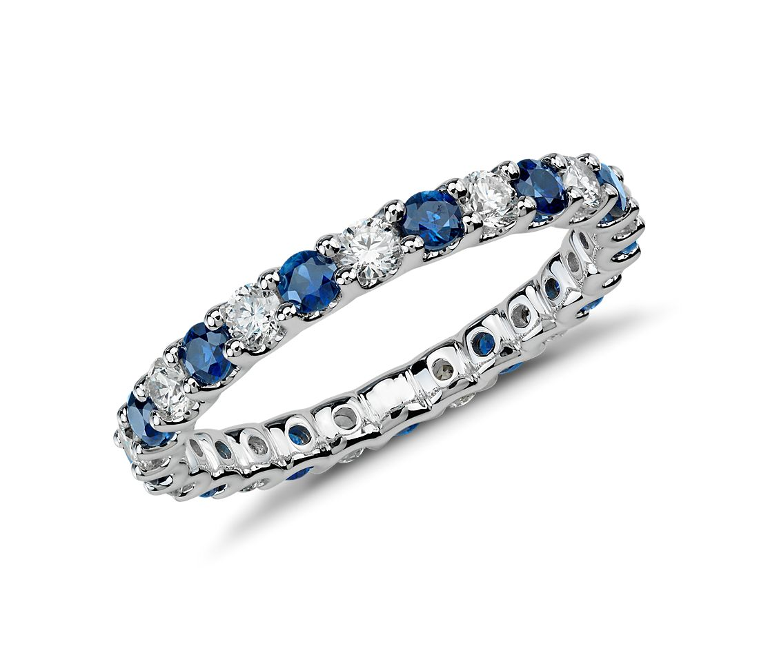 U-Prong Sapphire and Diamond Eternity Ring in 14k White Gold (5/8 ct. tw.)