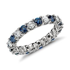 U-Claw Eternity Sapphire and Diamond Ring in Platinum (1 ct. tw.)