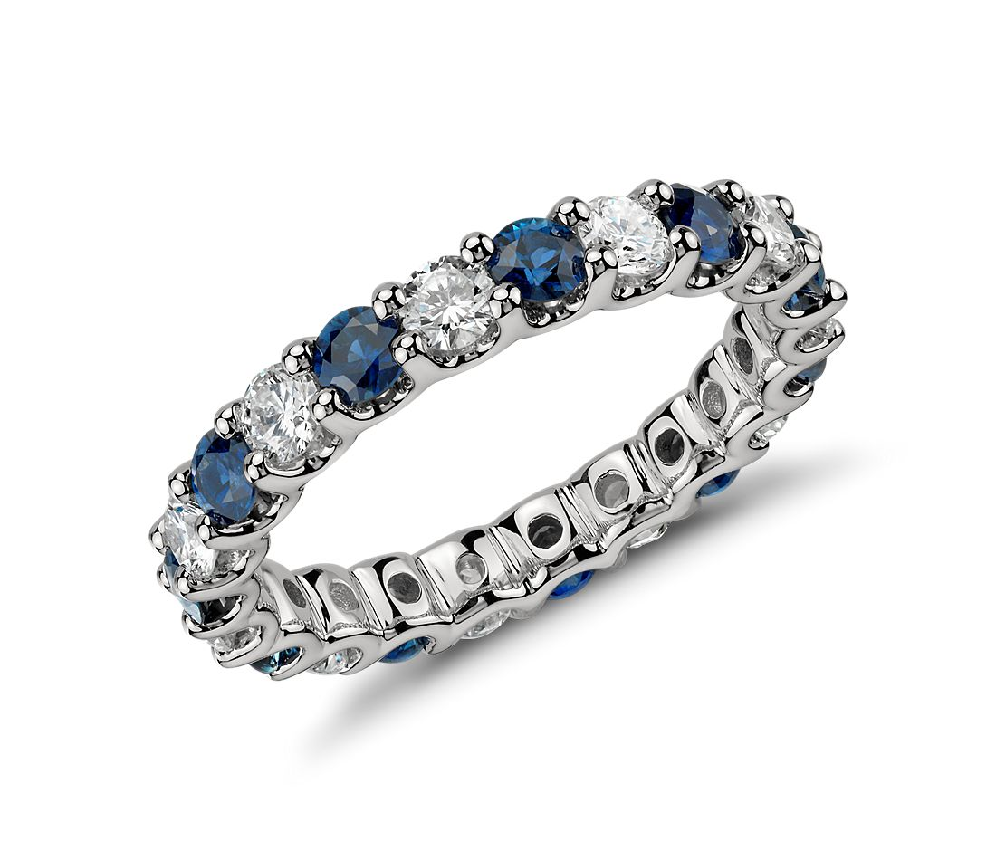U-Claw Sapphire and Diamond Eternity Ring in Platinum (1 ct. tw.)