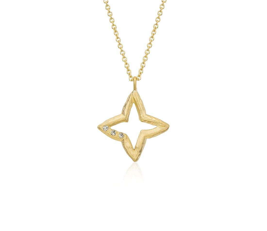 Denise James Evening Star Pendant in Satin 14k Yellow Gold