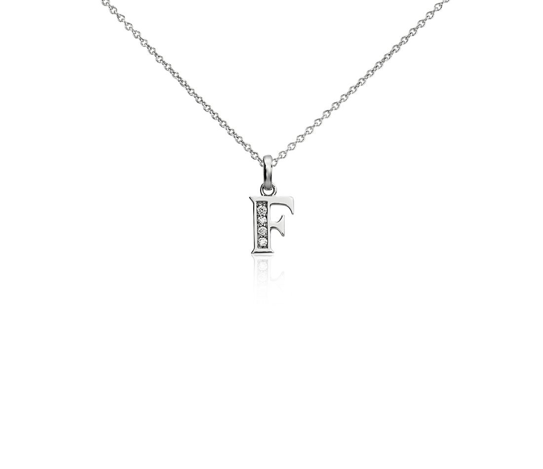 "Mini Initial ""F"" Diamond Pendant in 14k White Gold"