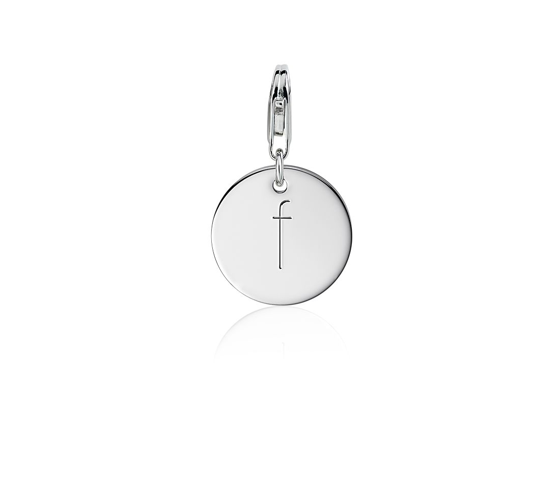 """F"" Initial Charm in Sterling Silver"