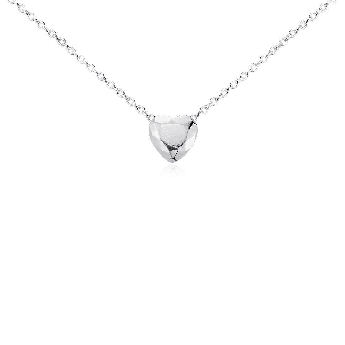 Petit pendentif cœur à facettes en argent sterling