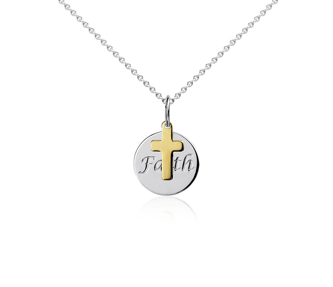 Faith Disc Pendant in Sterling Silver with 14k Yellow Gold Cross