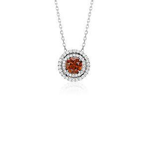 Pendentif halo diamant fantaisie marron foncé en or blanc 18carats (1,03carats, poids total)