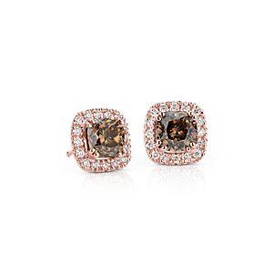 NUEVO. Aretes con halo de diamantes de color marrón fantasía, en oro rosado de 14k (3,29 qt. total)
