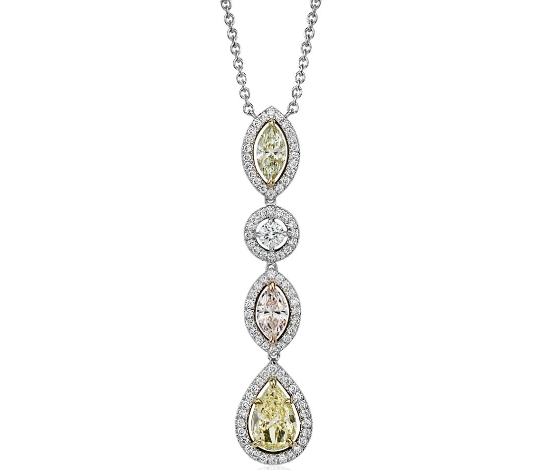 Fancy Color Diamond Halo Drop Pendant in 18k White Gold (3.38 ct. tw.)